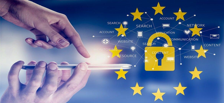 Telefonino che invia dati personali e bandiera Unione Europea con rappresentazione di una rete dati internet