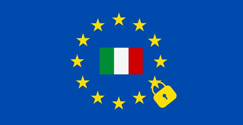 Bandiera europea ed italiana con al centro un lucchetto a simbolo della legge sulla privacy