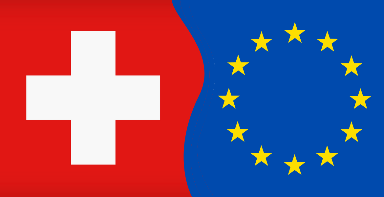 Bandiera Svizzera e Bandiera Europea unite