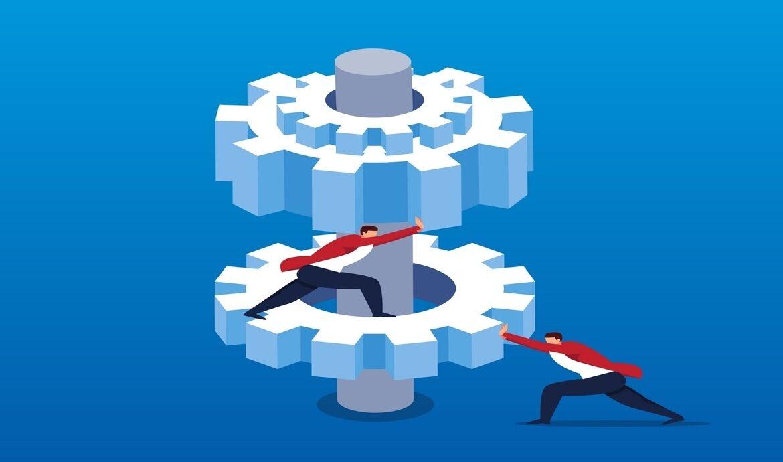 Immagine che rappresenta 2 individui che azzionanao 2 ruote dentate di un meccanismo, a simboleggiare la blockchain