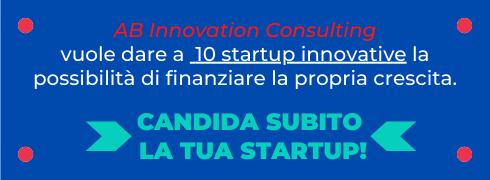 Banner per la pubblicità della ricerca di 10 startup da finanziare